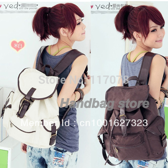 New Fashion Women's Bag Canvas Backpack Shoulder backpack Coffee Beige free shipping 3318(China (Mainland))