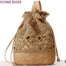 FLYING BIRDS! 2016 women Backpack in daypacks beach bag summer style Mochila women's travel bags school bags straw bag LM3061fb(China (Mainland))