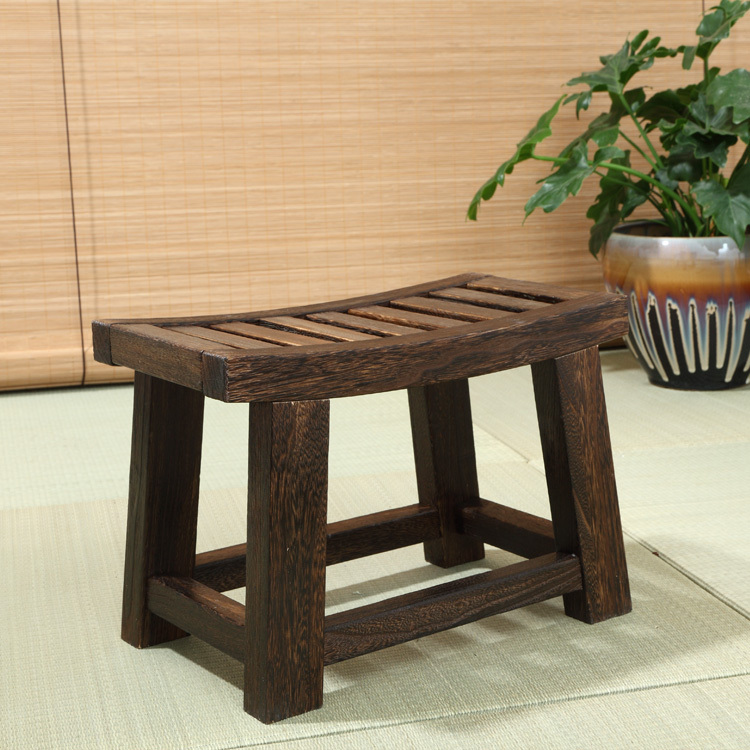 Japanese Antique Wooden Stool Font