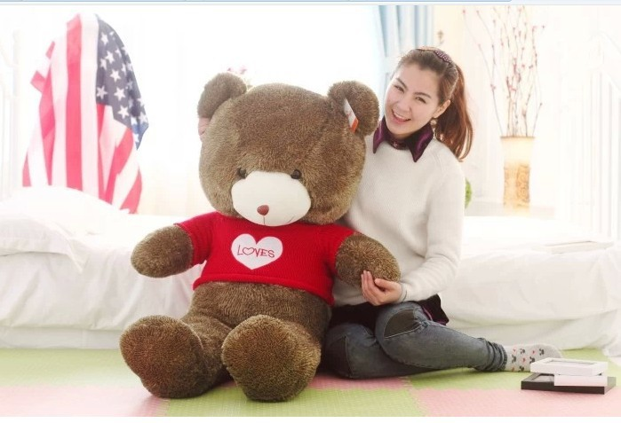 "big lovely teddy bear doll cute red sweater chocolate with ""love "" bear toy birthday gift about 120cm(China (Mainland))"