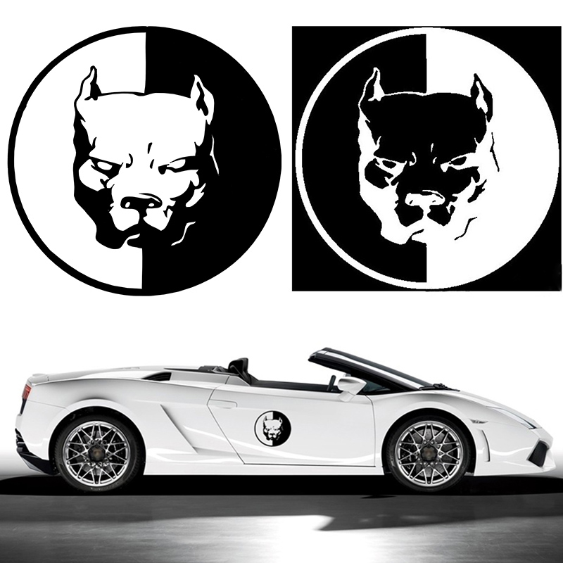 1PCS PITBULL Car Stickers 12*12CM Black White Motorcycle Car Styling Decals 3D Dog Funny Car Stickers For BMW VW Audi Stickers(China (Mainland))