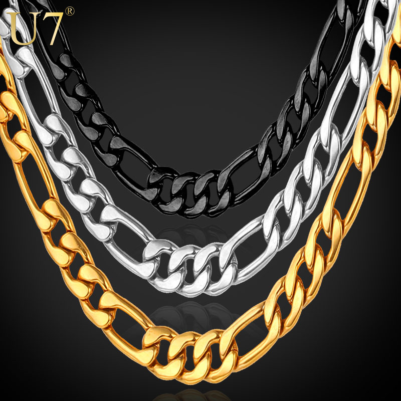 U7 18K Real Gold Plated Men Necklace Jewelry Wholesale Stainless Steel 5 Sizes 5MM Trendy Long Figaro Gold Chain Necklace N141(China (Mainland))