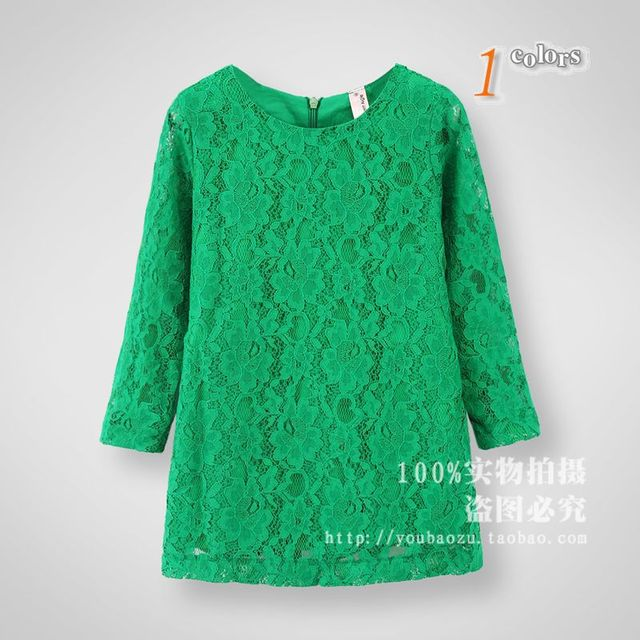 New Girls Spring Autumn green hollow out  princess lace dresses