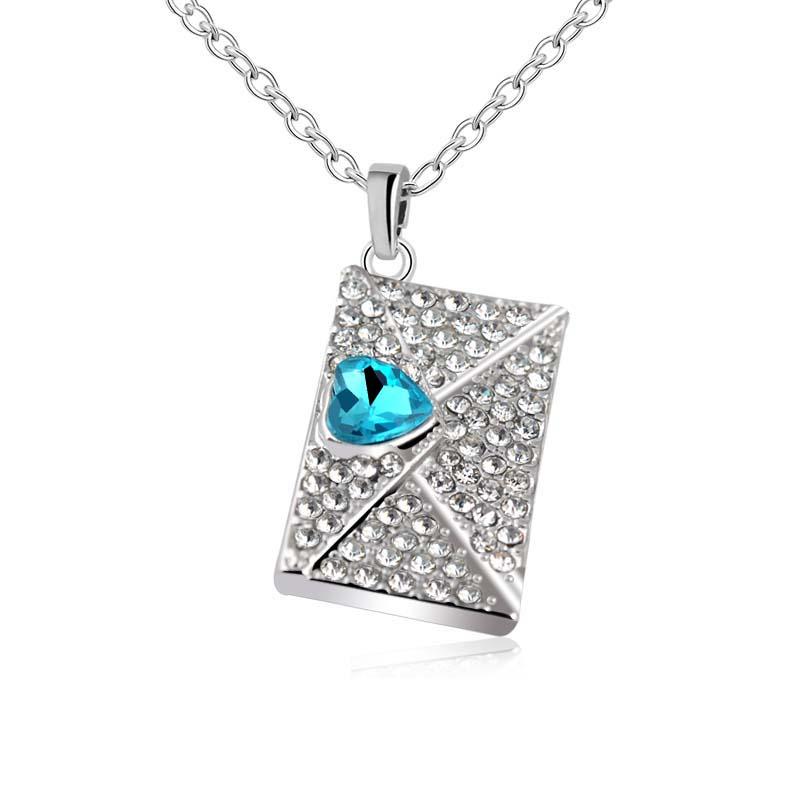 Fashion Full Rhinestone Heart-Shaped Crystal Envelope Pendant Necklace For Women/Girls Jewelry Hot Sale Valentine's Day gift X64(China (Mainland))