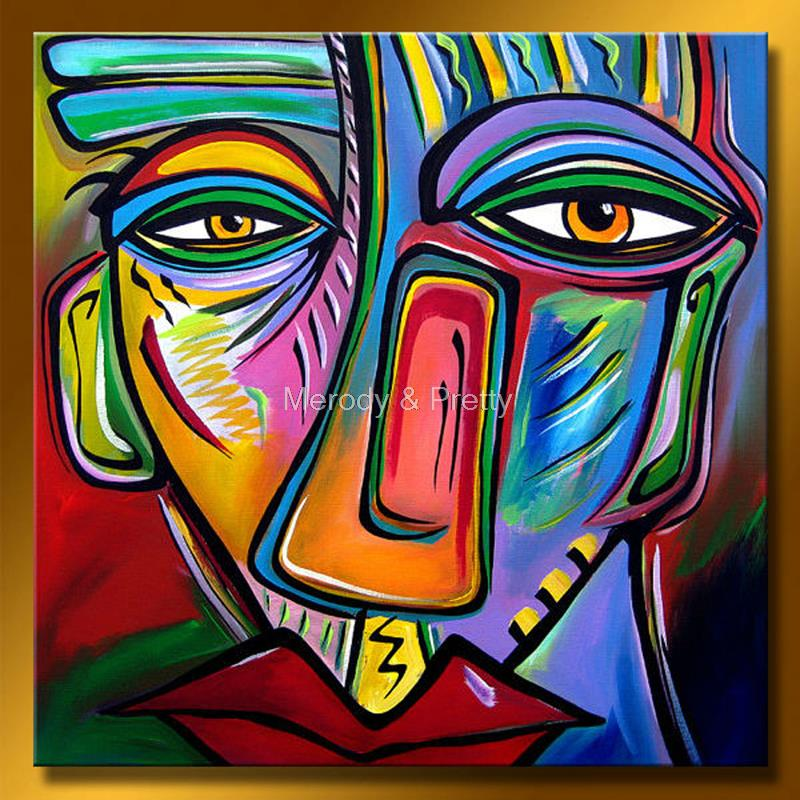100 hand painted modern colorful abstract face oil for Modern art gallery online