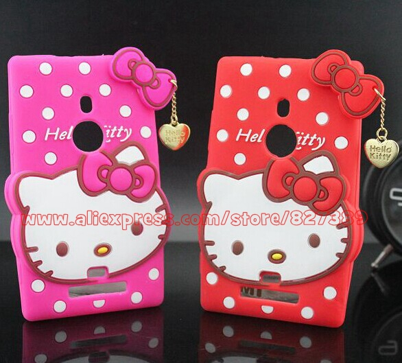 Hot Selling Polka Dot Hello Kitty Silicone Mobile Phone Back Case Cover For Nokia Lumia 925(China (Mainland))