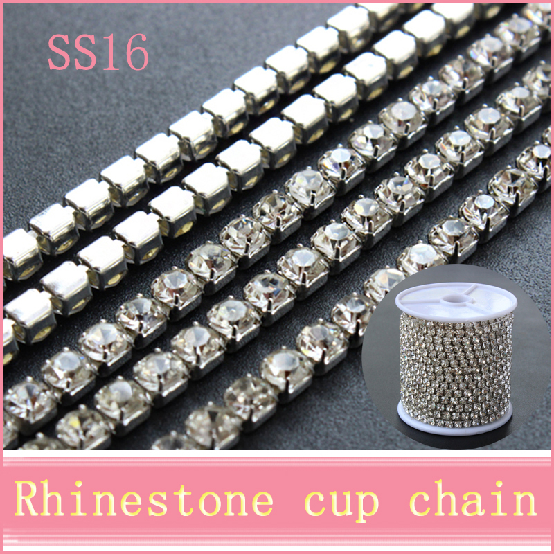 10 yards/roll bright strass silver base densify claw SS16(3.8-4.0mm) crystal rhinestone cup chain for bags design(China (Mainland))