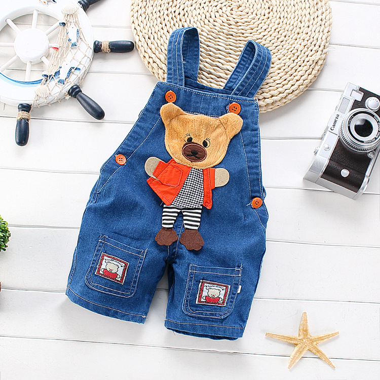 Free shipping Children summer overalls Cartoon denim shorts newborn baby jeans jumpsuits Can open file#Z1655(China (Mainland))