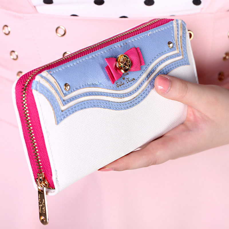 2016 Kawaii Sailor Moon Designer Leather Long Wallet Women Japanese Fashion Brand Lady Zipper Purse Lovely Handbag Clutch Famale(China (Mainland))