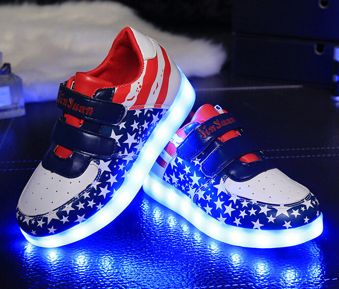 2016 Children LED light colorful shining chaussure enfant USB charging boys girls sneakers kids shoes with tenis