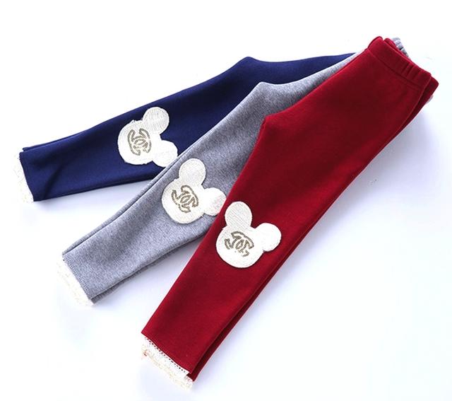 Девушка меховые гетры зима теплая детская микки брюки для детей девушки теленка брюки 3 цветов