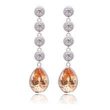 2015New Dangle Drop Earrings for Women Platinum Plated Luxury Long Earrrings Girlfriend Birthday Gift Jewelry(China (Mainland))