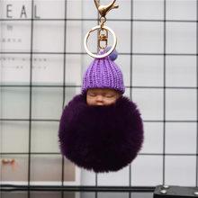 Moda Bebê Dormindo Boneca Chaveiro Pompom Real da Pele do Coelho Bola Anel Chave para Carro Saco Mulheres Bugiganga Presente EH838(China)