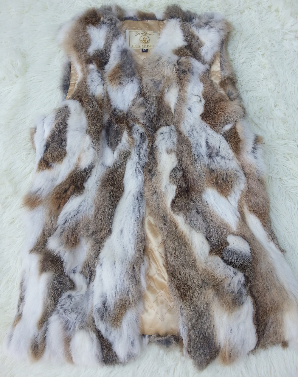 Real Genuine Natural Rabbit Fur Vest Female Women Coat Short Design Waistcoat Low big size F670 - K fashion show co.,Ltd store