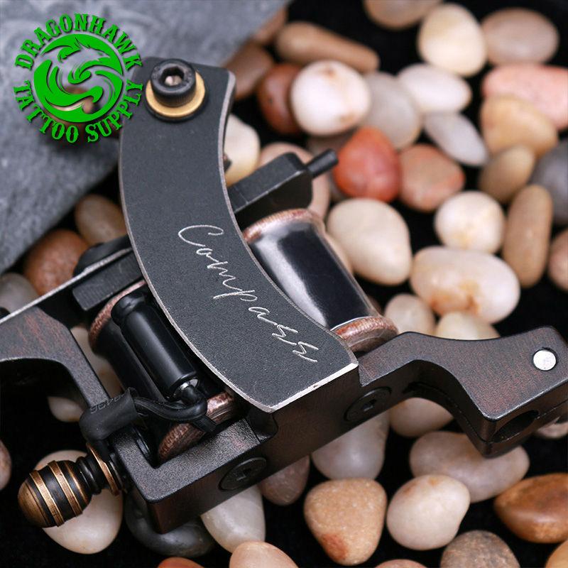 Professional Compass Tattoo Machine Liner & Shader Steel Frame Copper Coils Tattoo Gun