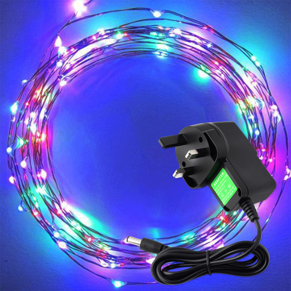 TSLEEN 12V 1A Colorful Starry Fairy Light With 100 Micro LEDs 5M Silver  Wire Festival Birthday