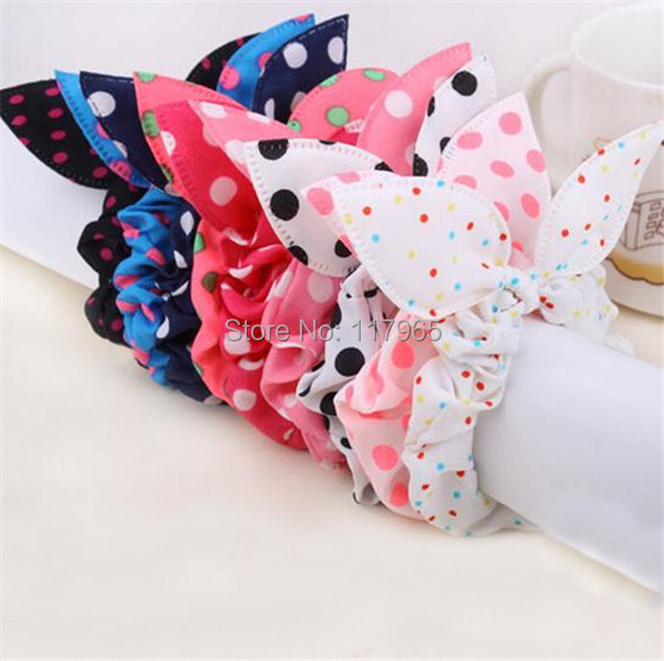 10Pcs Fashion Mix Style Clips Hair band Polka dot leopard hair rope Accessories for girls Rabbit