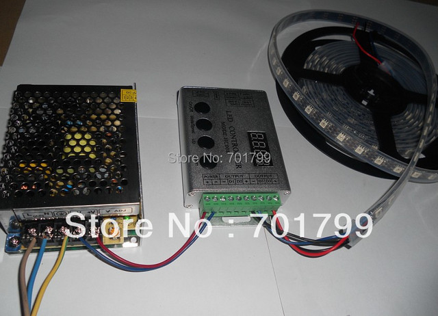 4m DC5V 60pixels ws2811 built-in led digital strip+RF controller with 60W power supply;black pcb,waterproof in silicon tube