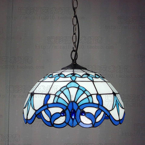 16inch Tiffany Baroque Stained Glass Suspended Luminaire E27 110-240V Chain Pendant lights for Home Parlor Dining Room(China (Mainland))