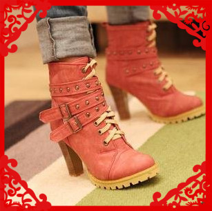 Hot 2014 fashion platform high heels ankle women motorcycle boots women boots and woman autumn winter shoes #Y1001115F