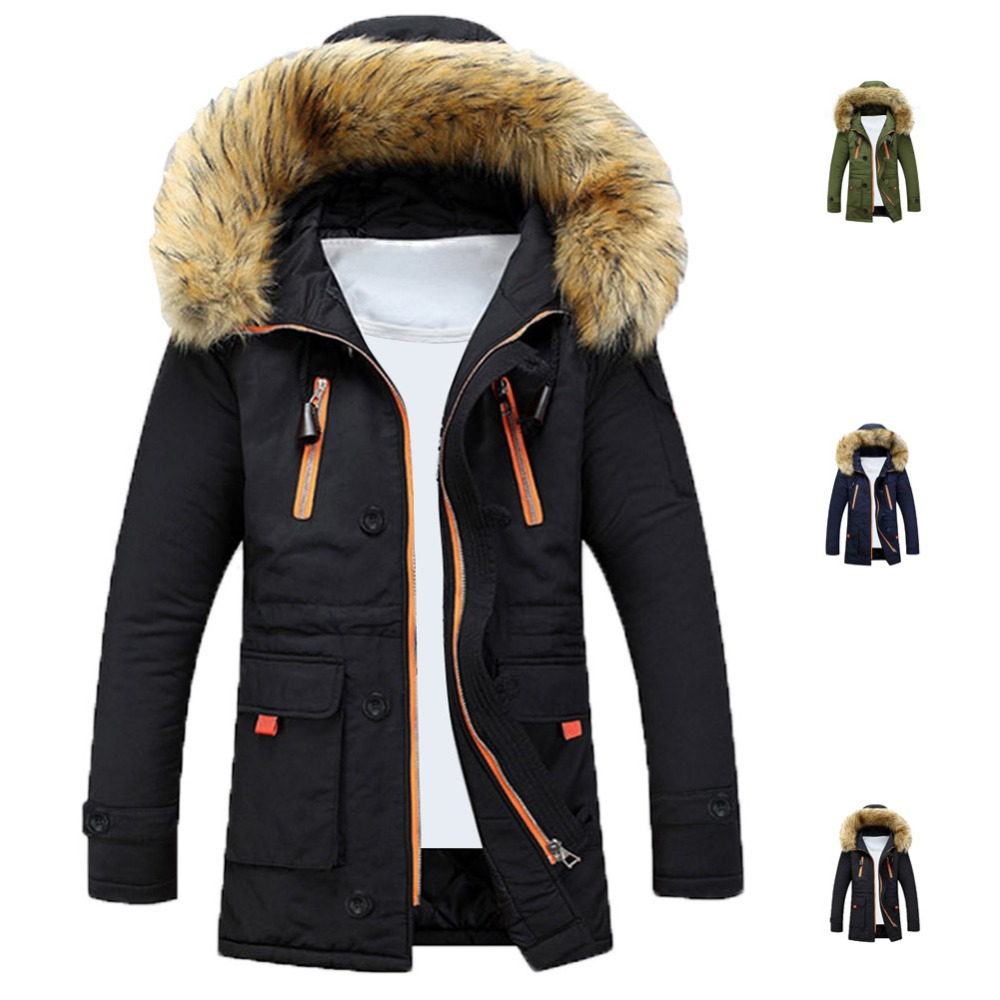 Mens Winter Fur Collar Lining Thick Parka Overcoat Padded Trench Jacket Coat  -  Top-Rated & Dropshipping Shop store