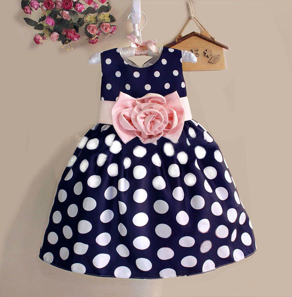 2015 New Stylish Kids Toddler Girls Princess Dress Sleeveless Polka Dots Bowknot Dress! 3 color Top quality navy blue white(China (Mainland))