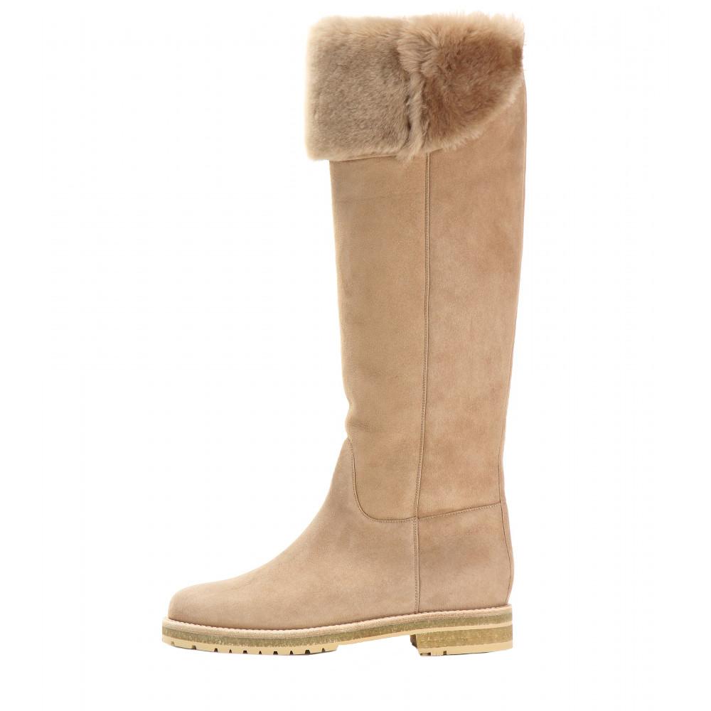 Elegant Women Knee-high Winter Boots Fashion Short Plush 2.5cm Square Heels Boots Brown Customizable Shoes Woman Plus US Size