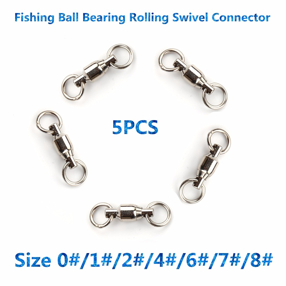 High quality 5pcs size 1 2 4 6 7 8 ball bearing for Fishing swivel sizes