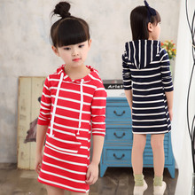 Buy Fashion Autumn Girl Dress Hooded Long Sleeve Kids Clothes Toddler Next Casual Children Clothing Striped Tutu Baby Dresses Girls for $8.47 in AliExpress store