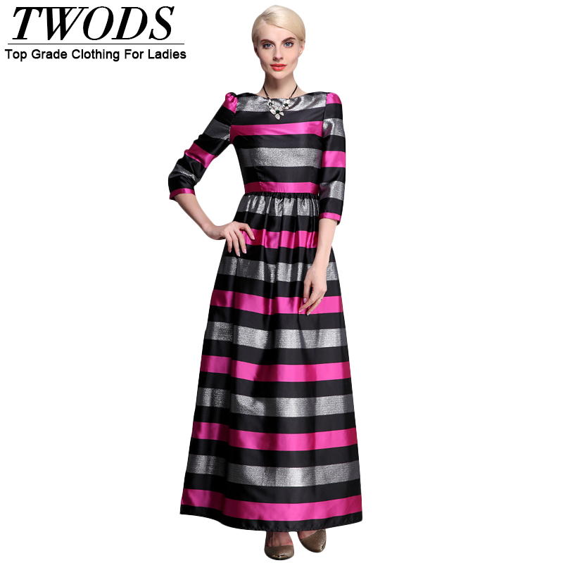 Здесь можно купить  Twods 2015 new lurex black striped three quarter sleeve slim fit plus size high quality women summer maxi flare dress  Одежда и аксессуары