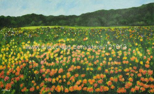 Landscape Painting Fine Art Colorful Flowers Handmade Brazil Oil Paintings Acrylic Landscapes Large Canvas Wall Art Office Bac(China (Mainland))