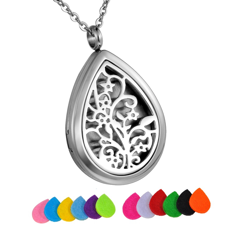 Tree Life Stainless Steel Water drop Perfume Locket Essential Oil Diffuser Necklace Aromatherapy Pendant Necklace With 12 Pads(China (Mainland))