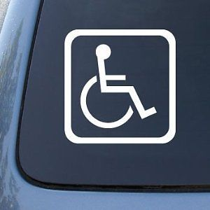 Handicapped Sign car decal sticker removable white park closer cops pulled over,funny car stickers(China (Mainland))