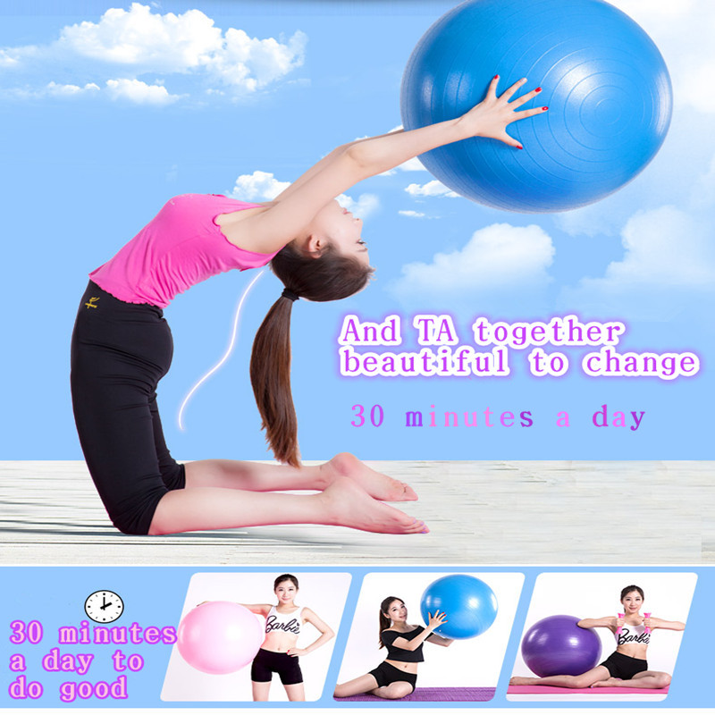 2015 New 55cm Yoga Thickened Ball Health Balance Bola Pilates Fitness Gym Home Exercise Sport Exercise Ball Send The Inflator(China (Mainland))