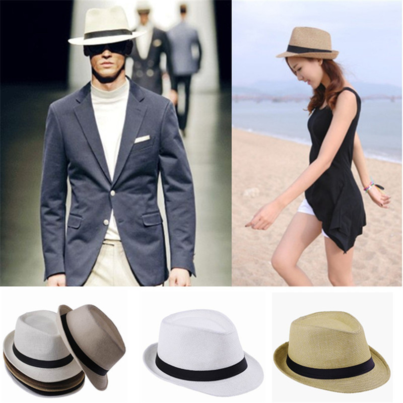 Summer Casual Beach Jazz Fedora Sun hat panama hats for Women Men Paper Straw Cap Tea hat party Floppy chapeu brand for women(China (Mainland))
