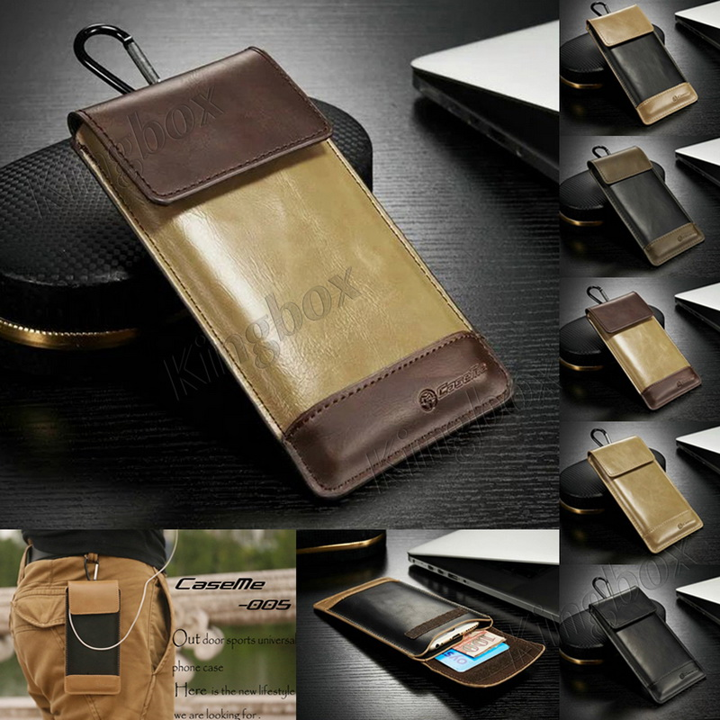 Genuine Leather Phone Cases Applies To All Phones Luxury Retro Leather Pouch Sleeve Pocket Bag + Carabiner Hook For All Phones(China (Mainland))