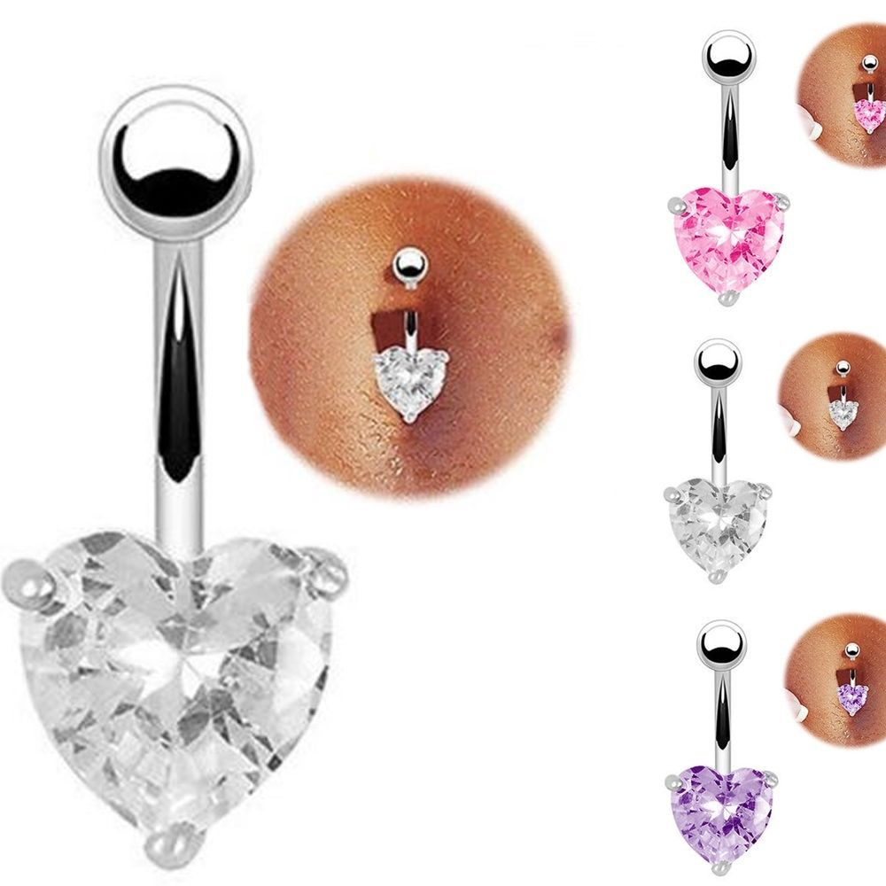 Hot Clear Surgical Body Piercing Jewelry Steel Navel Belly Button Bar Ring Heart(China (Mainland))