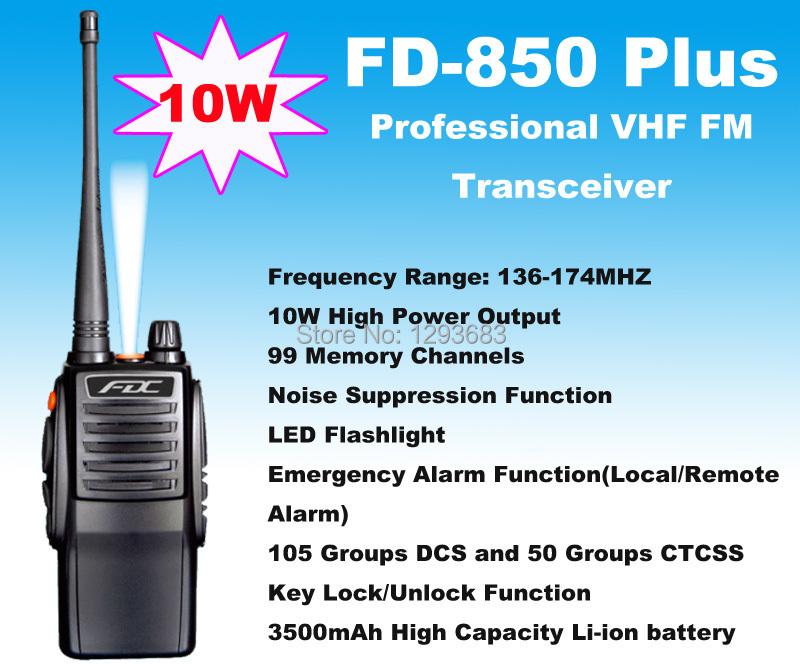 New 2014 Two way radio 10W FD-850 Plus waterproof VHF radio Transceiver waterproof walkie talkie 10km(China (Mainland))