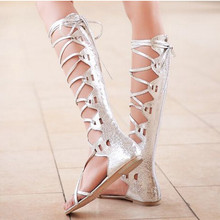 2015 Brand Woman Sandals Gladiator Sexy Retro Knee High Lady Summer Shoes Punk Cross Tie Women Summer Sandals Flat Plus Size