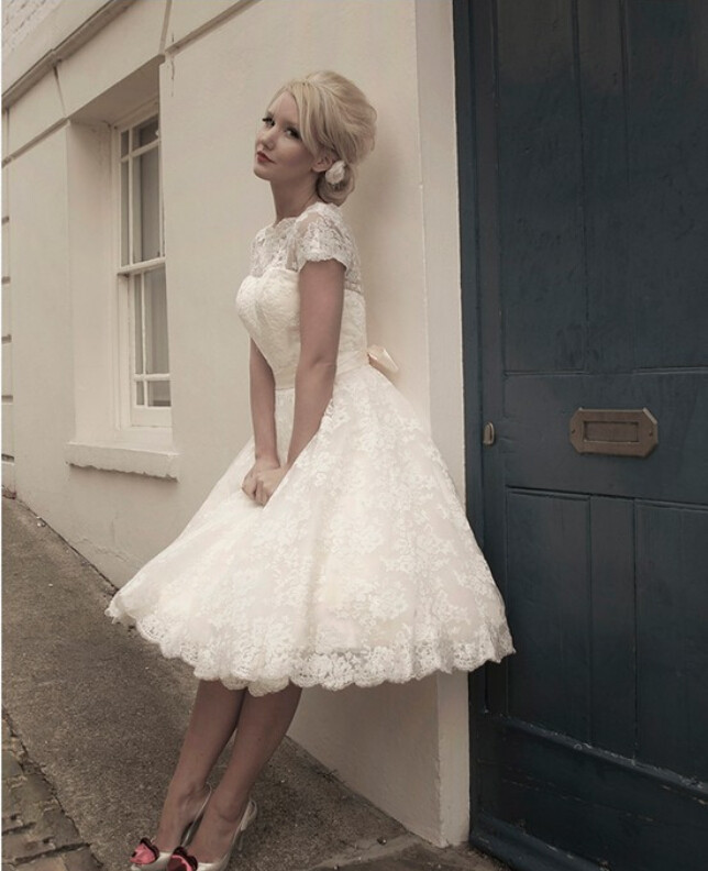 Classical See Vestido De Noiva Line Robe De Mariage Tea Length Lace Short Wedding Dress 2017 Vintage Bridal Gown Y0121