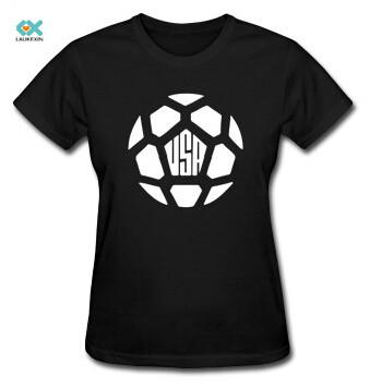 Women 39 s t shirt usa soccer ball tee print football sports for T shirt printing usa