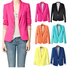 new 2015 hot sell  candy WOMAN SUIT blazer women FOLDABLE BRAND JACKET women clothes suit  one button shawl cardigan CoatОдежда и ак�е��уары<br><br><br>Aliexpress