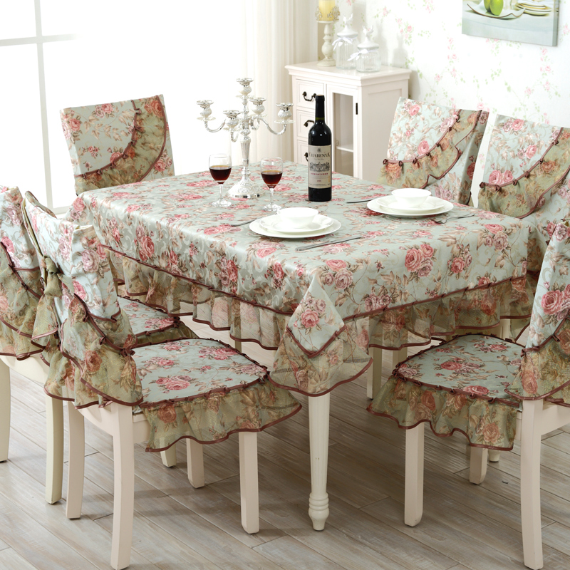 Top grade square dining table cloth chair covers cushion tables and chairs bundle chair cover rustic lace cloth set tablecloths(China (Mainland))