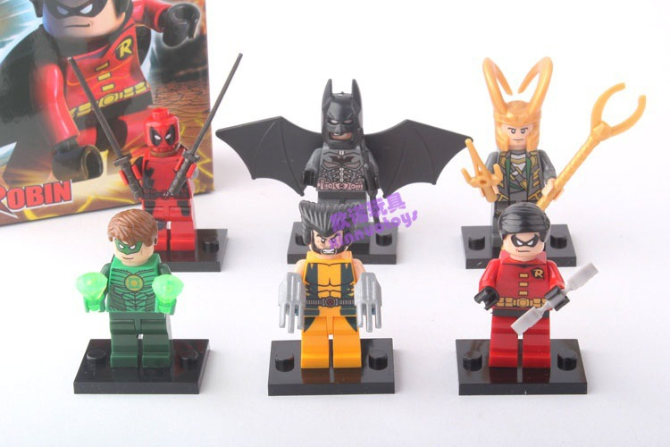 X-Man Bat Man Spider Man Loki Green Lantern Decool 0116-0121 Superheroe 6pcs/lot Building Blocks Minifigure(China (Mainland))