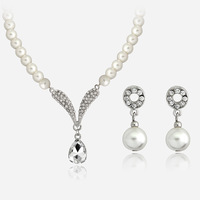 Imitation Pearl Necklace & Pendants Crystal Water Drop Necklace And Earring Set Pearl Jewerly Sets For Women Collier Accesorios