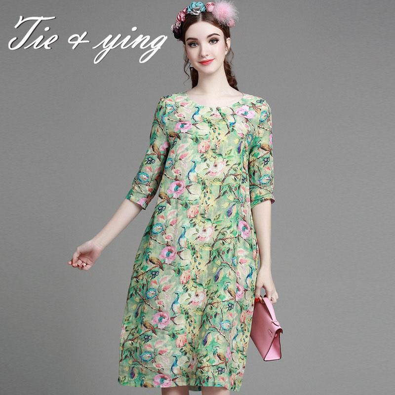 High-end print summer dress 2016 new Chinese style vintage royal O-neck half sleeve loose A-line elegant  floral art midi dressОдежда и ак�е��уары<br><br><br>Aliexpress