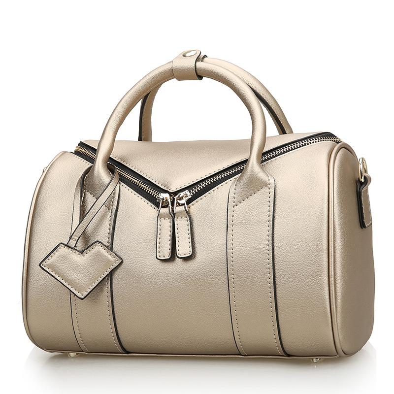 Genuine leather women's handbag fashion 2015 Boston pillow bag double zipper cowhide female messenger bags cross-body
