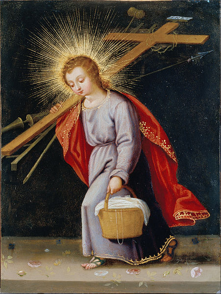 Canvas Art Prints Fabric Wall Decor Oil Painting Spanish Or South American - Infant Christ Bearing Instruments Of Passion(China (Mainland))