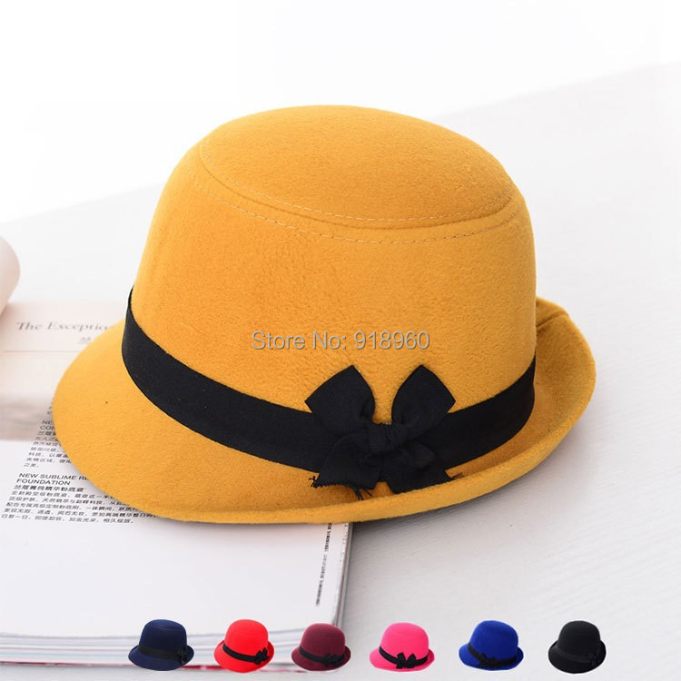 Vintage faux woolen top floppy fedora hats for woman,bow girdle design tea party hats bowler hat,chapeu feminino,sombreros(China (Mainland))
