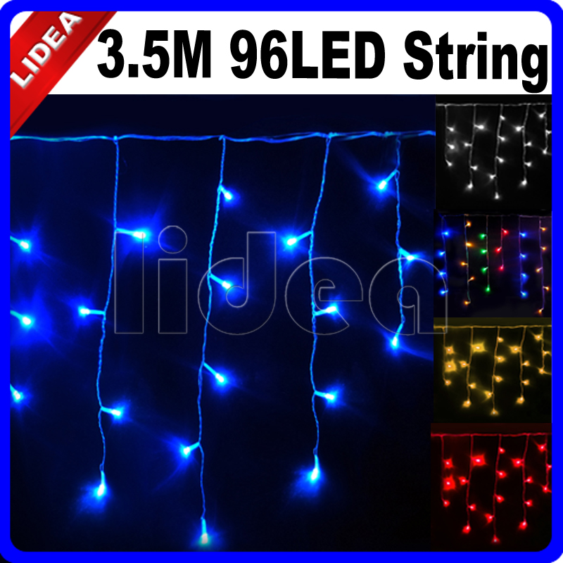 3.5M 96 LED Party Garden Wedding New Year Christmas Garland Fairy String Icicle Outdoor Decoration Curtain Holiday Light CN C-15(China (Mainland))